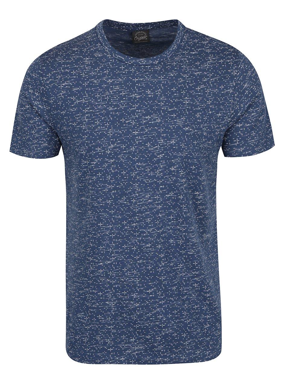 Modré vzorované tričko s krátkým rukávem Jack & Jones Lineup