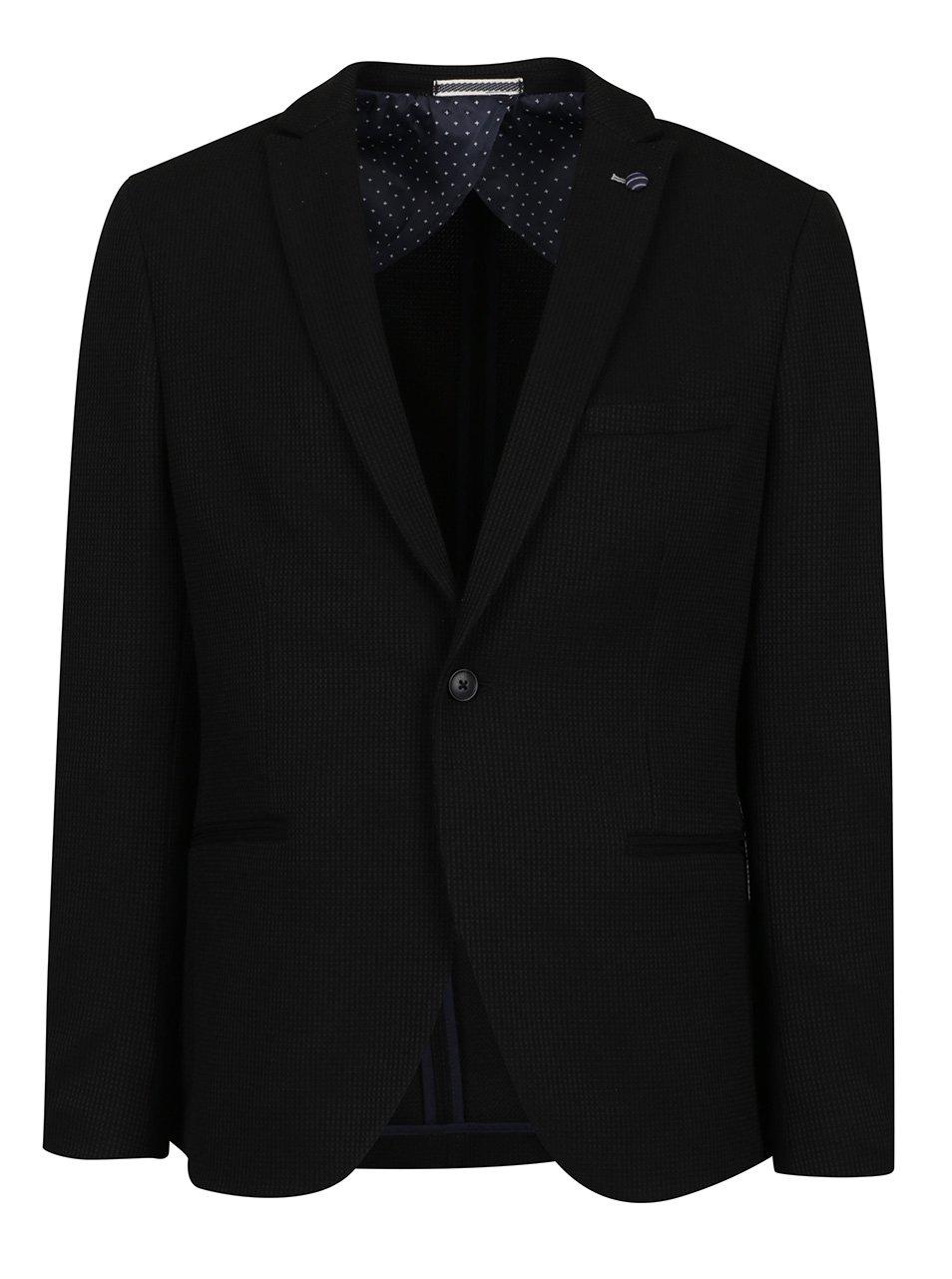 Černé sako s jemným vzorem Selected Homme Done-Brett