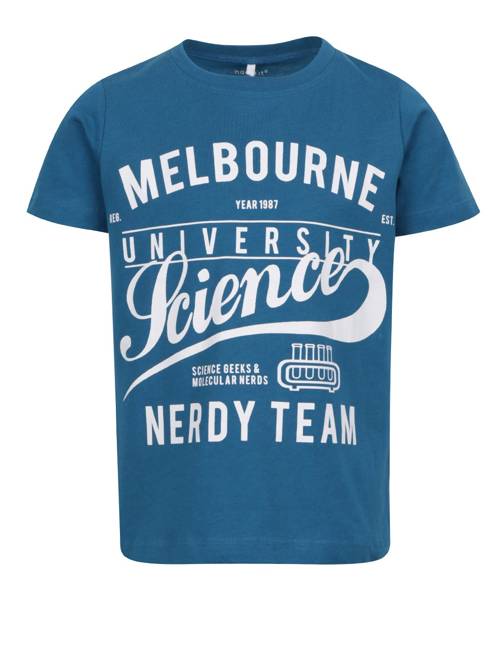 Modré klučičí triko s potiskem Name it Victorian