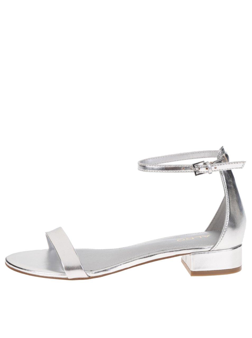 Sandálky ve stříbrné barvě na nízkém podpatku ALDO Angilia
