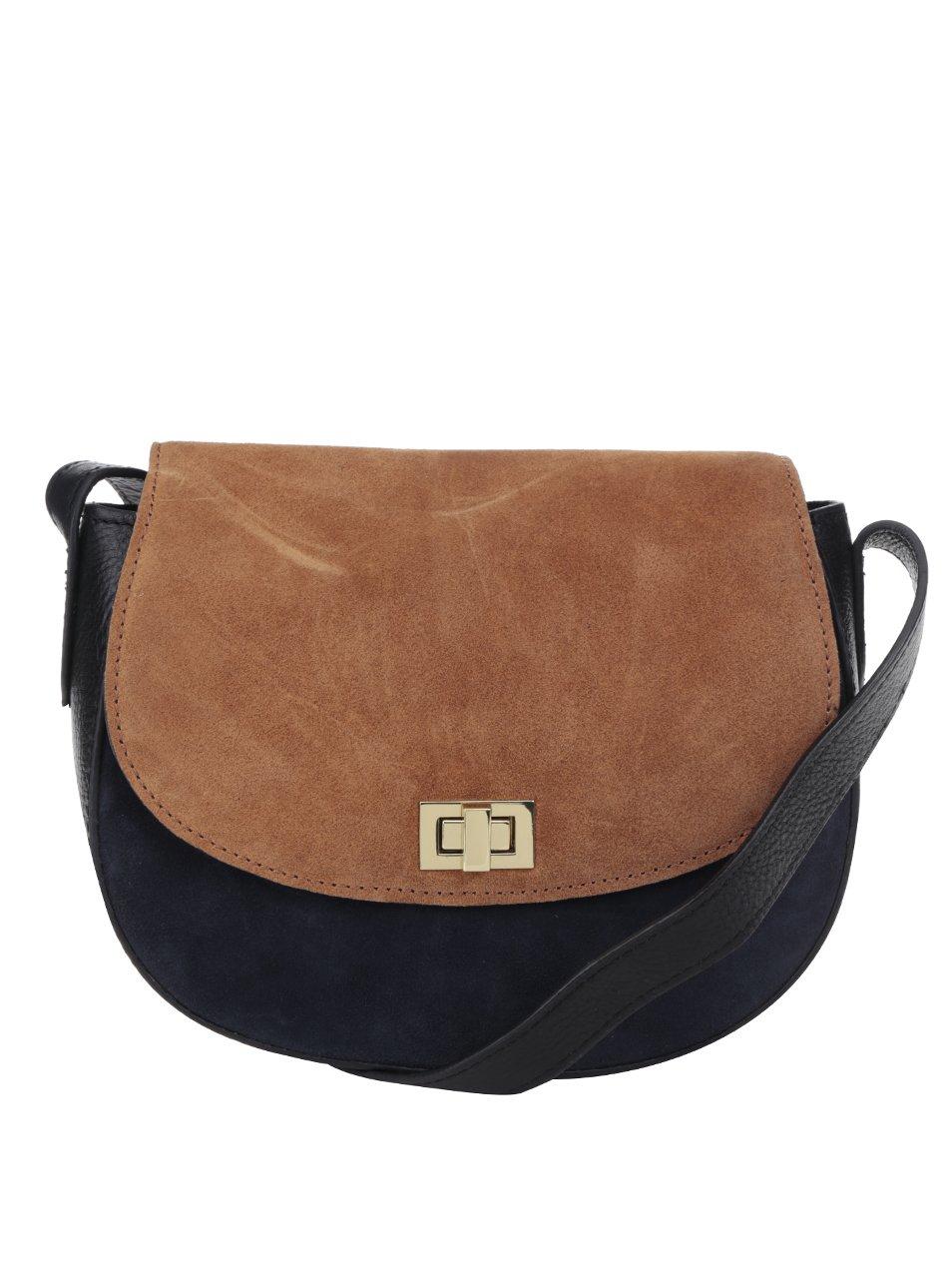 Hnědo-černá kožená crossbody kabelka se semišovými detaily Pieces Jolo
