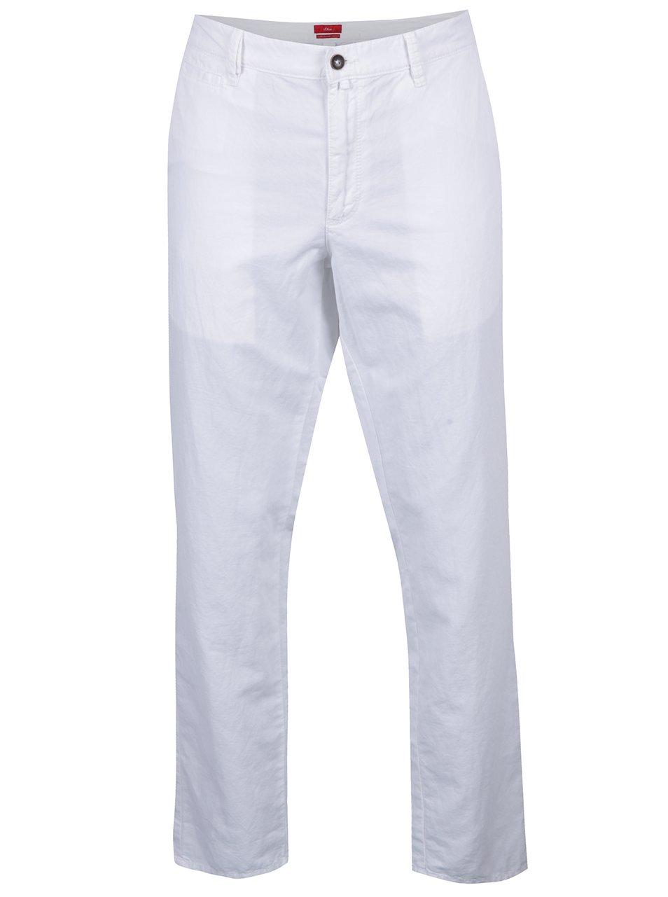 Bílé pánské lněné regular fit chino kalhoty s.Oliver