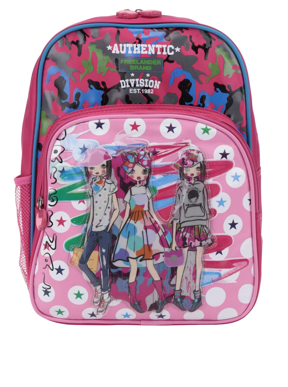 Růžový holčičí vzorovaný batoh s 3D potiskem Freelander Authentic Single