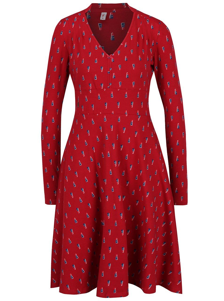 Červené šaty s motivem rtěnky Blutsgeschwister