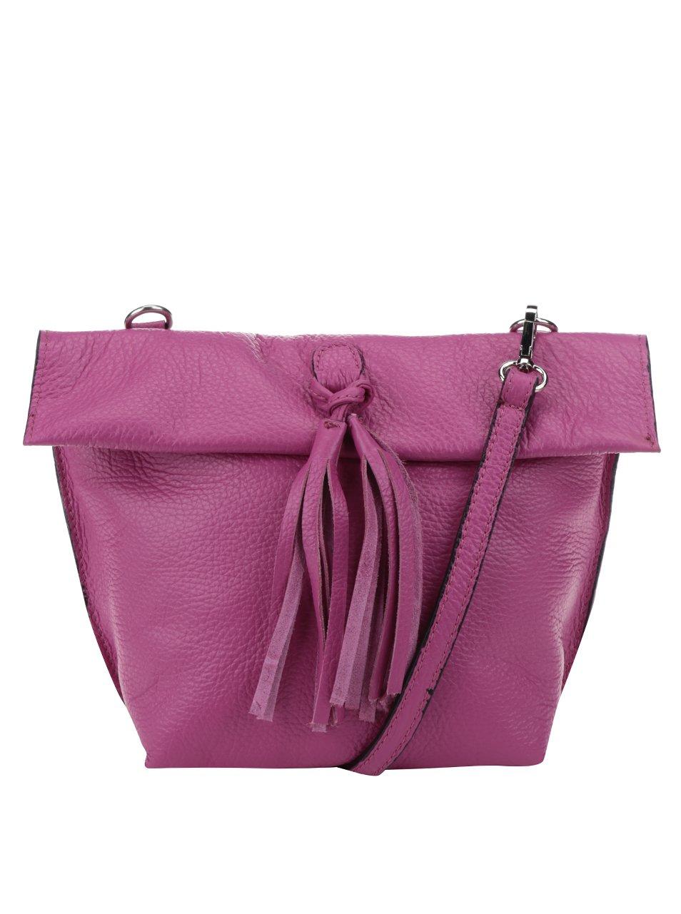Růžová kožená crossbody kabelka s třásní ZOOT