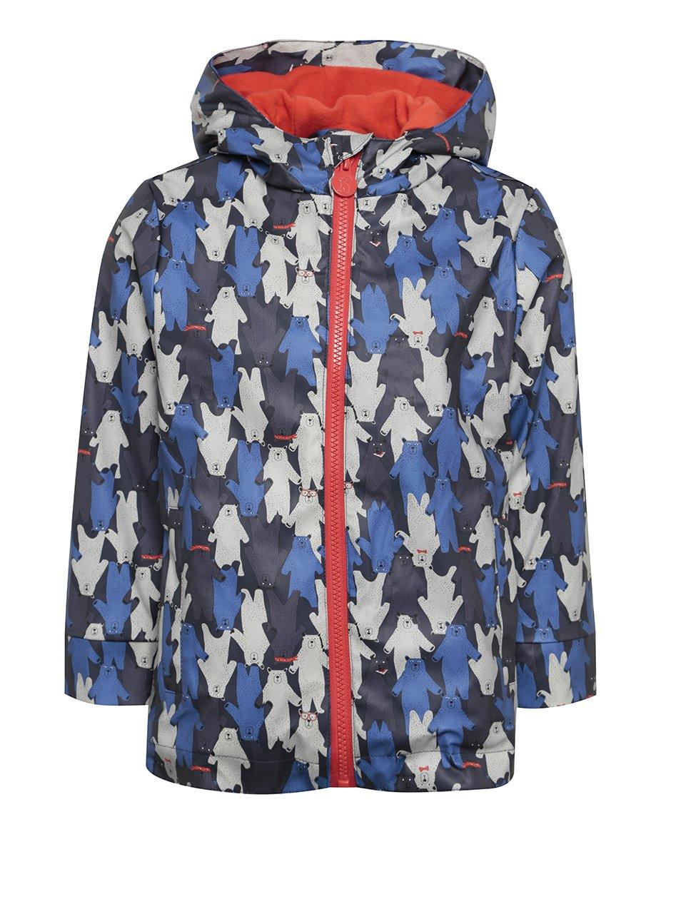 Modrá dětská voděodolná bunda s motivem medvědů Tom Joule