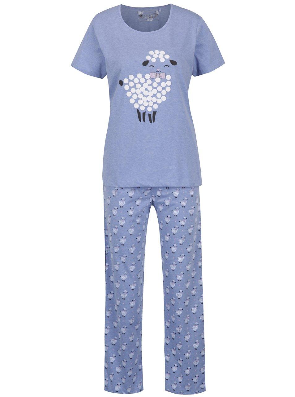 Modré žíhané dámské pyžamo s potiskem oveček M&Co