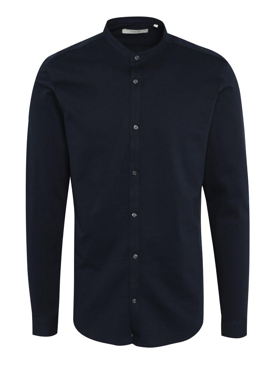 Tmavě modrá slim fit košile bez límečku Jack & Jones Premium Knit