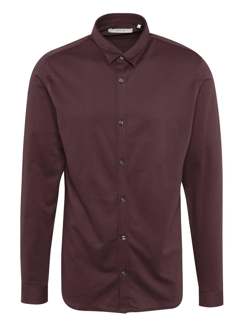 Vínová slim fit košile Jack & Jones Premium Knit