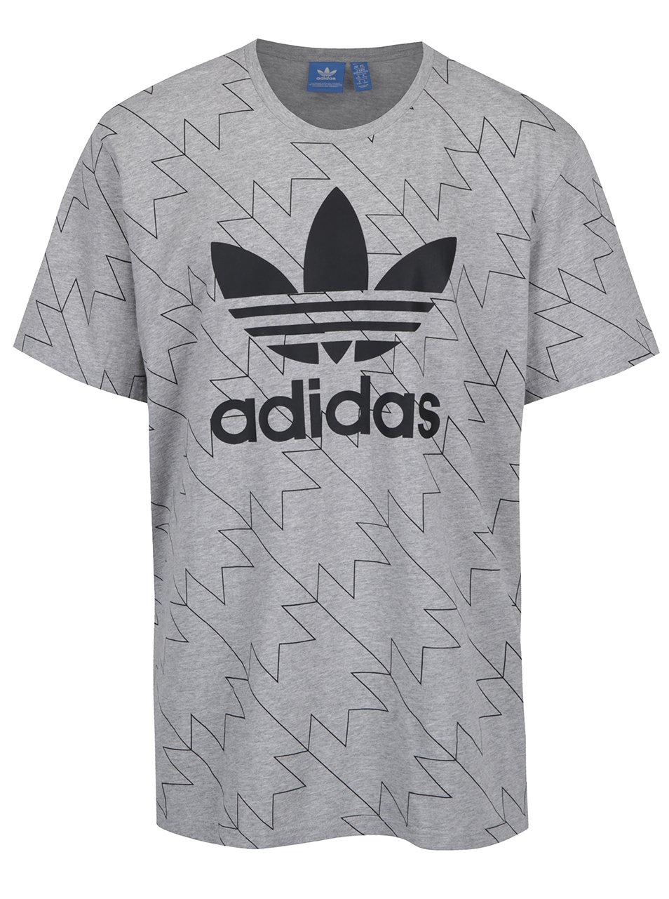 Světle šedé vzorované pánské tričko adidas Originals