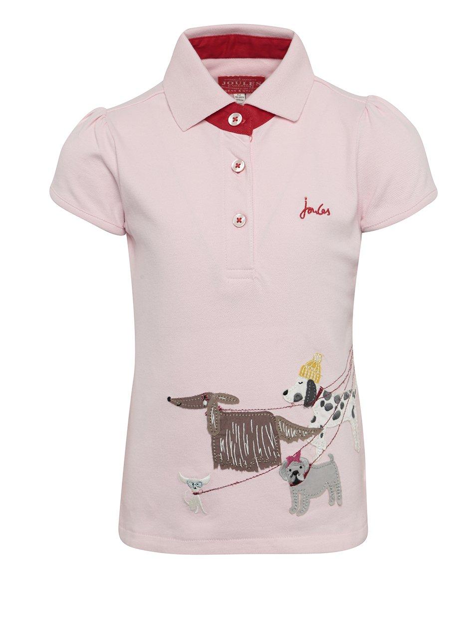 Světle růžové holčičí polo tričko s nášivkou psů Tom Joule
