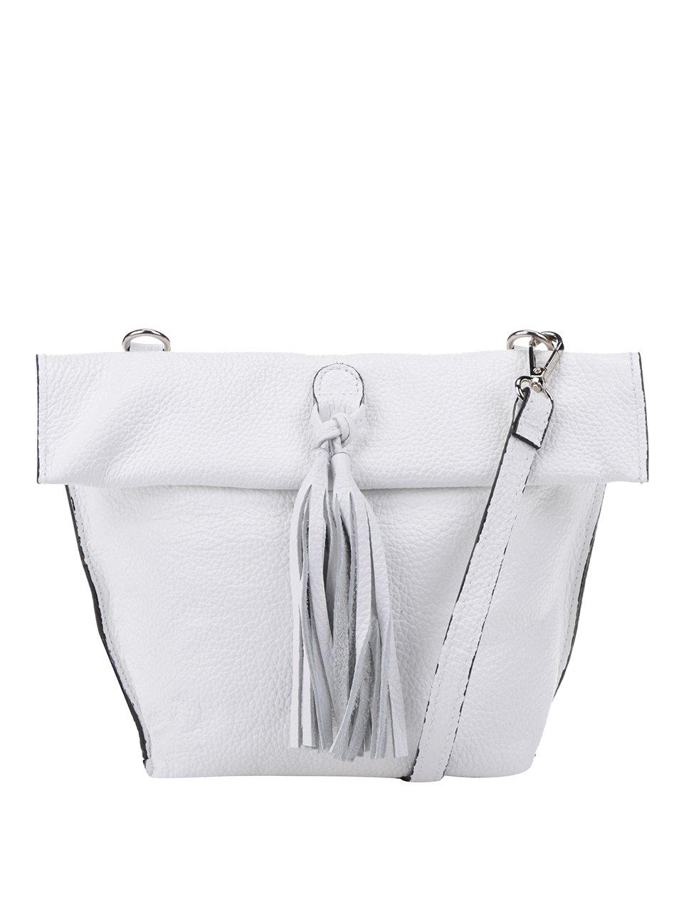 Bílá kožená crossbody kabelka s třásní ZOOT