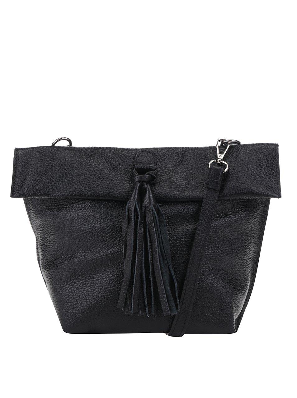 Černá kožená crossbody kabelka s třásní ZOOT