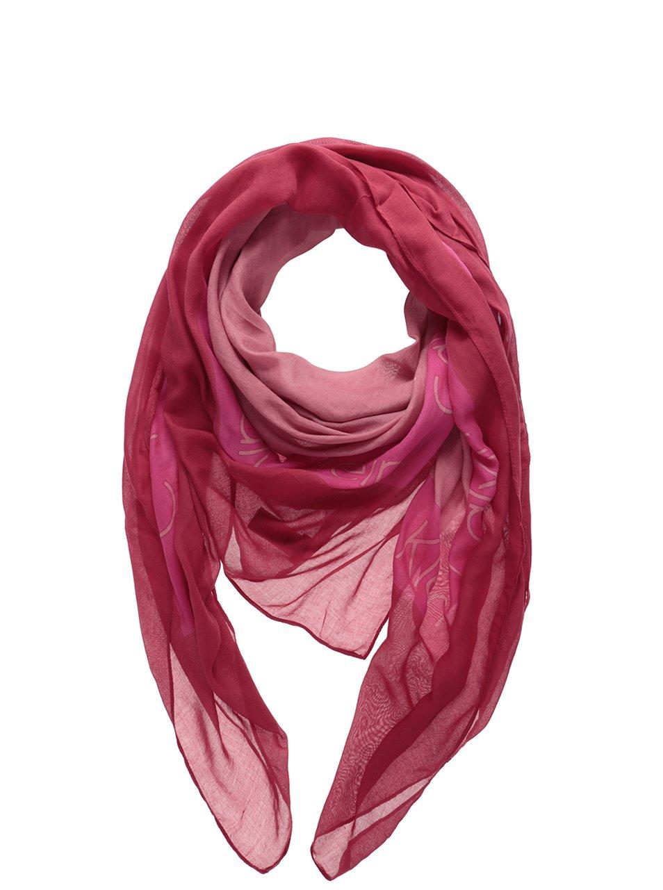 Růžový dámský šátek s nápisem Calvin Klein Jeans Logo 318ade4711