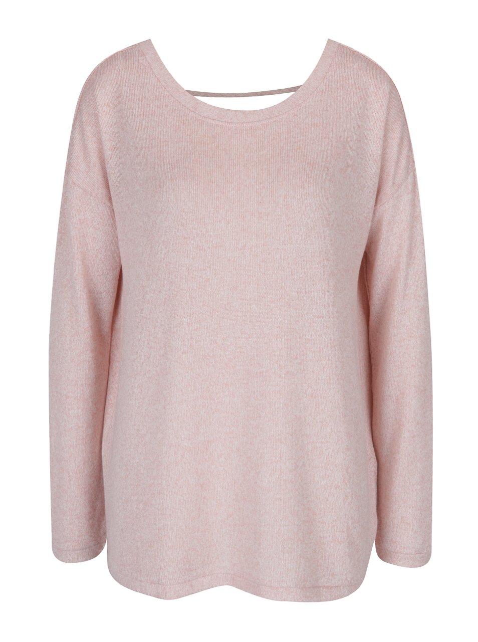 Světle růžový žíhaný svetr s páskem na zádech VERO MODA Sadie