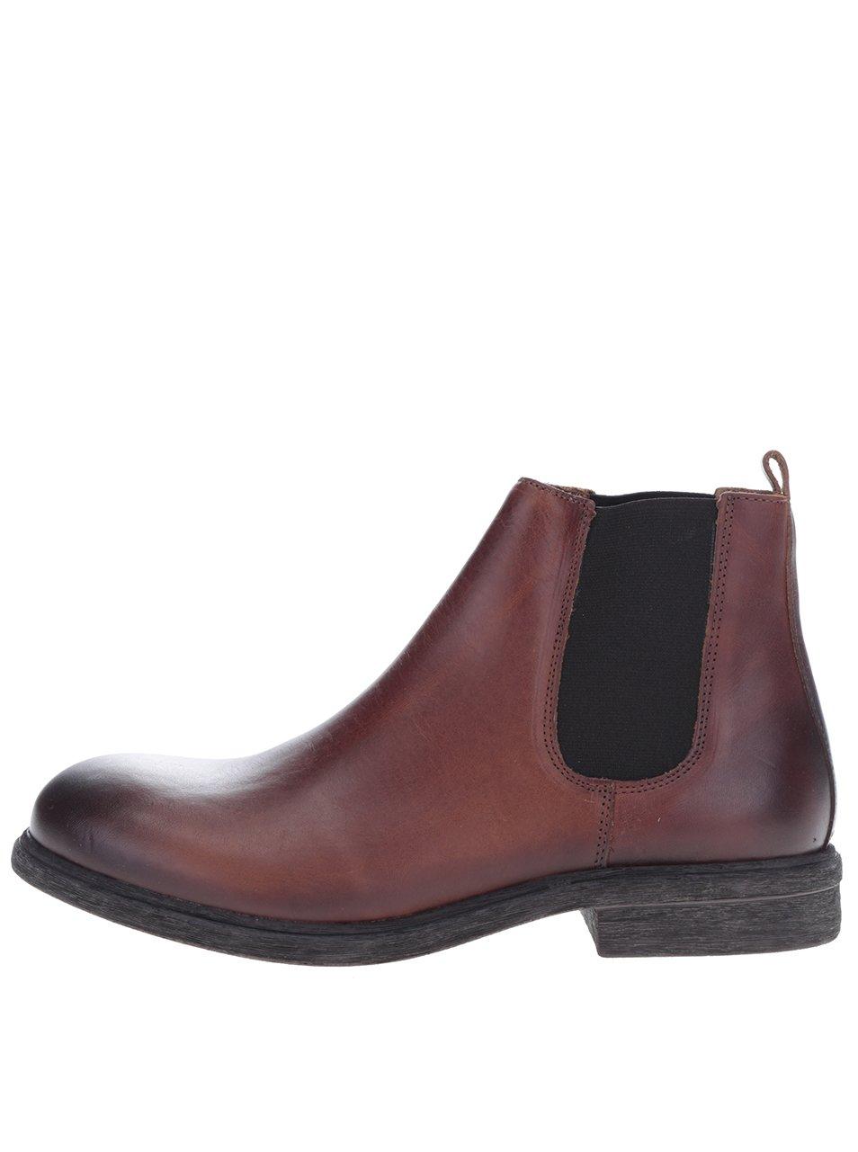 Hnědé kožené chelsea boty Selected Homme Trevor