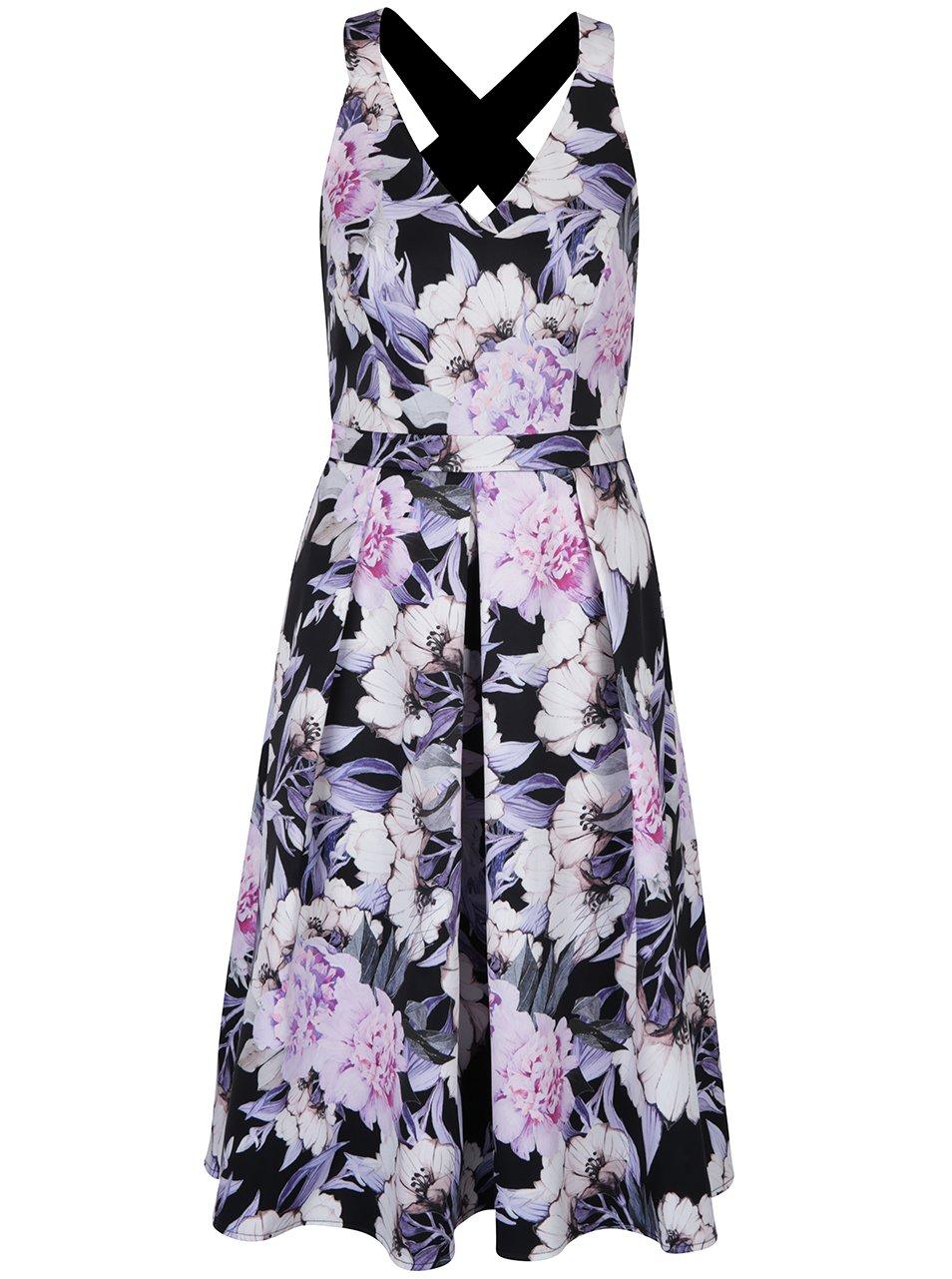 Krémovo-černé květované šaty Dorothy Perkins