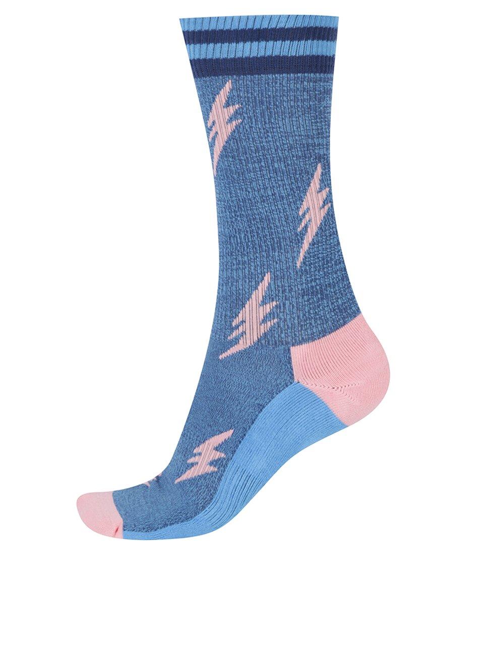 Modré unisex melírované vzorované ponožky Happy Socks Athletic Flash