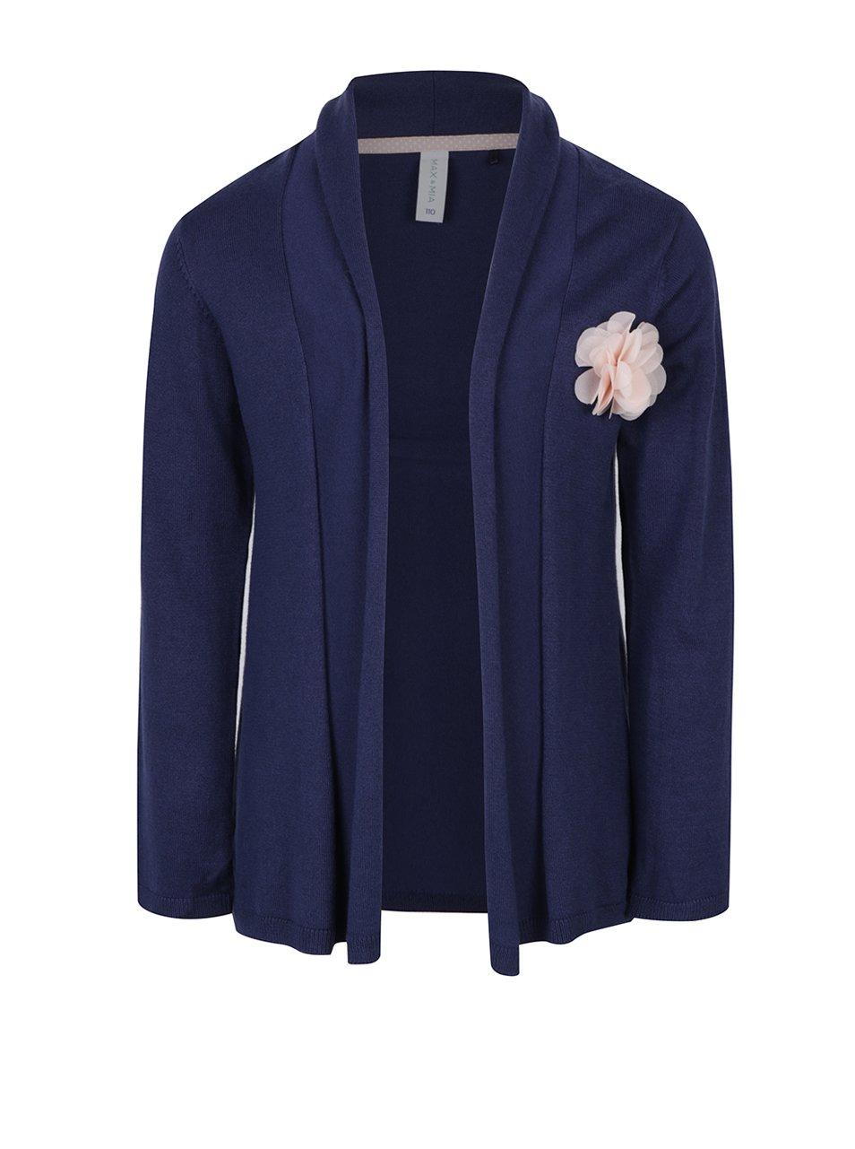 Tmavě modrý holčičí cardigan s plastickým detailem květu 5.10.15.