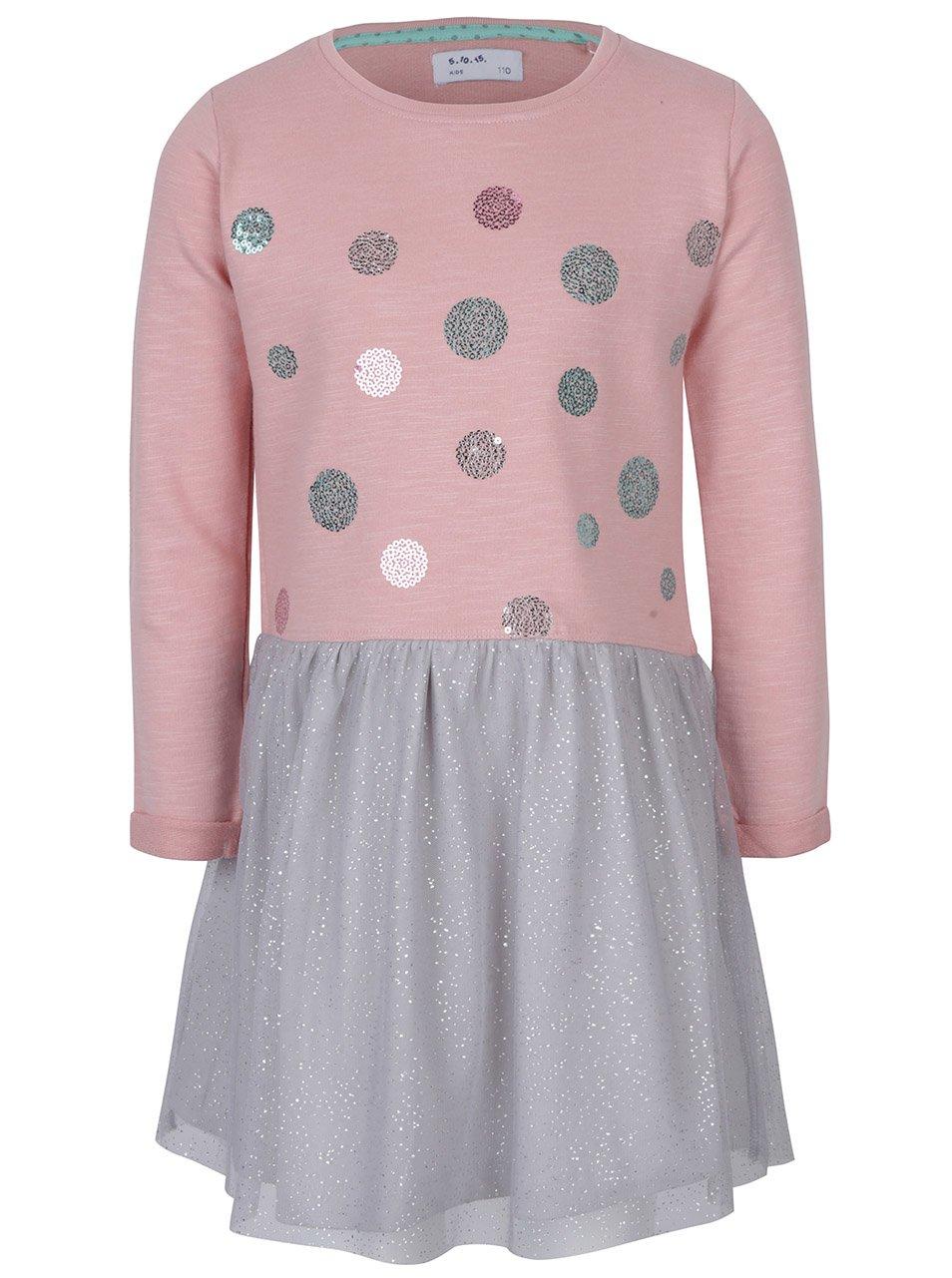 Šedo-růžové holčičí šaty s flitrovými detaily a třpytivým zdobením 5.10.15.