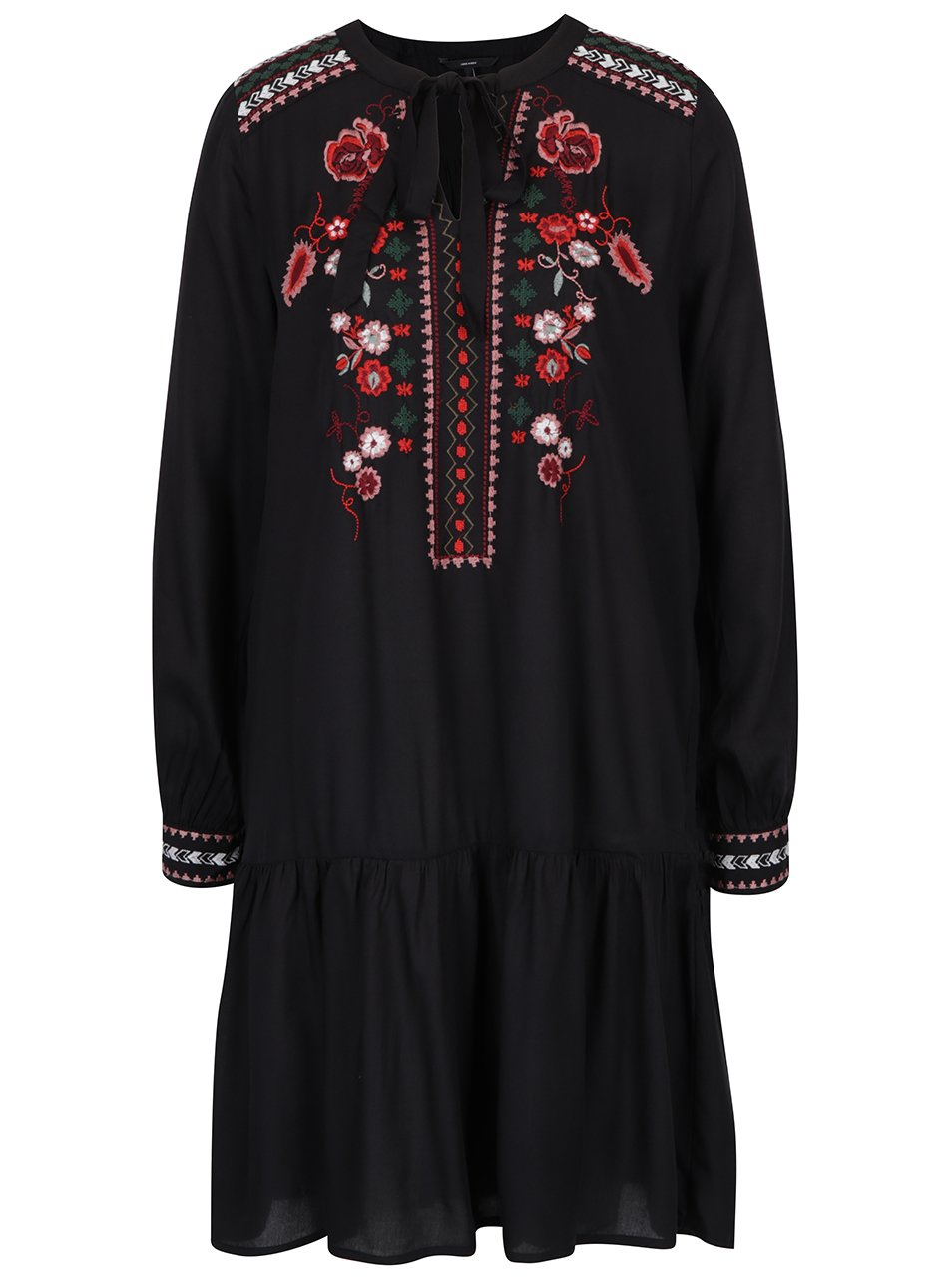 Černé šaty s výšivkou a dlouhým rukávem VERO MODA Joline