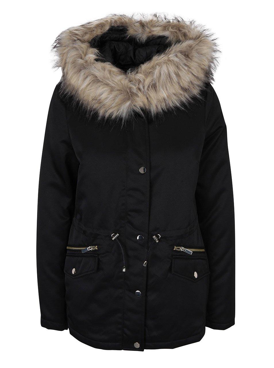 Černá zimní parka s kapucí Dorothy Perkins