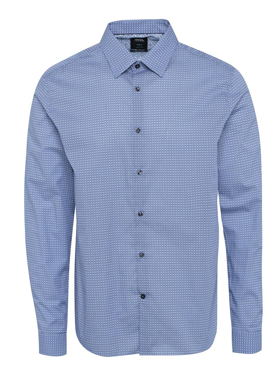 Modrá vzorovaná formální slim fit košile Burton Menswear London