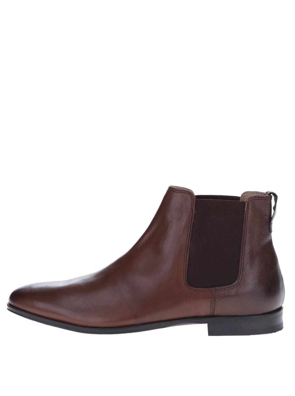 Tmavě hnědé kožené chelsea boty Burton Menswear London