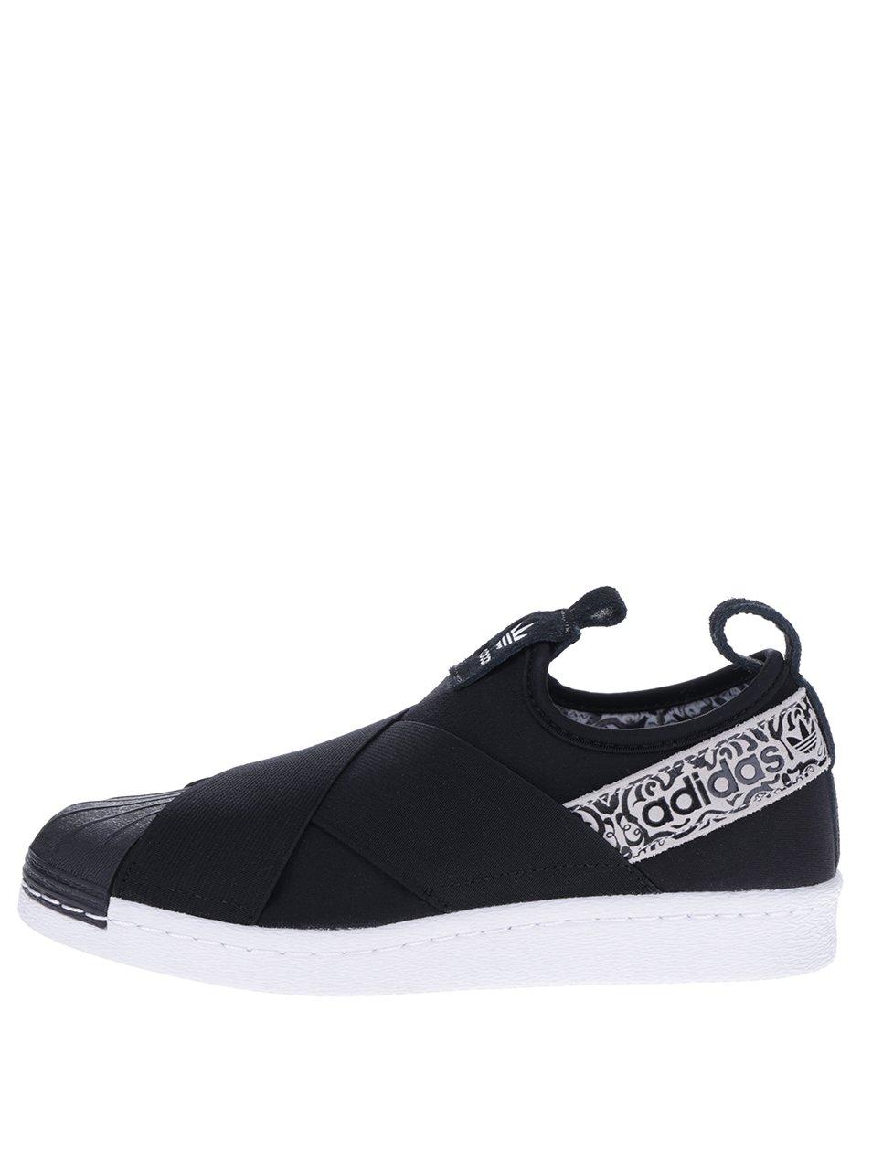 Černé dámské slip on tenisky s ozdobným vzorem adidas Originals Superstar