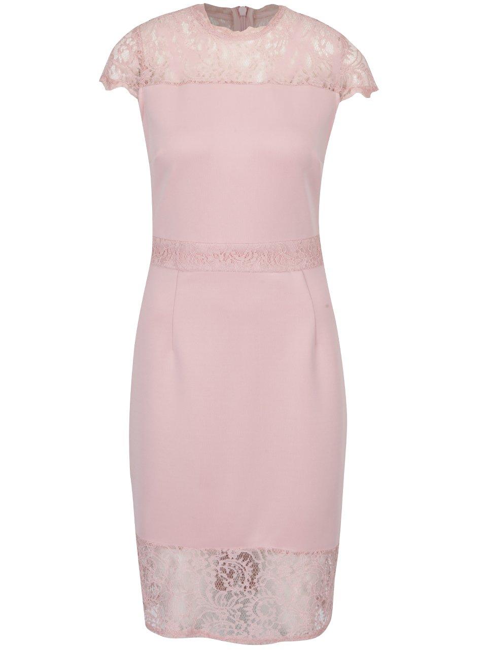 Starorůžové pouzdrové šaty s krajkovými detaily Dorothy Perkins