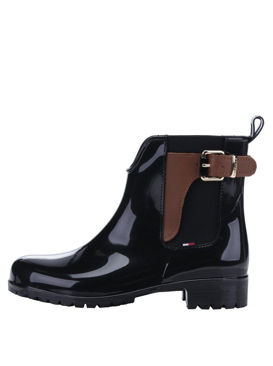 Černé dámské gumové chelsea boty s koženými detaily Tommy Hilfiger Oxley