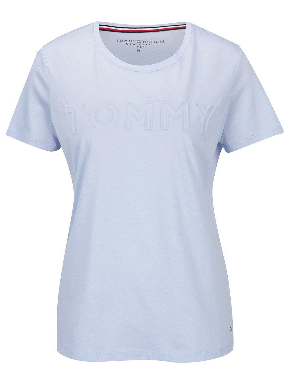 Světle modré dámské tričko Tommy Hilfiger Tommy Embossed