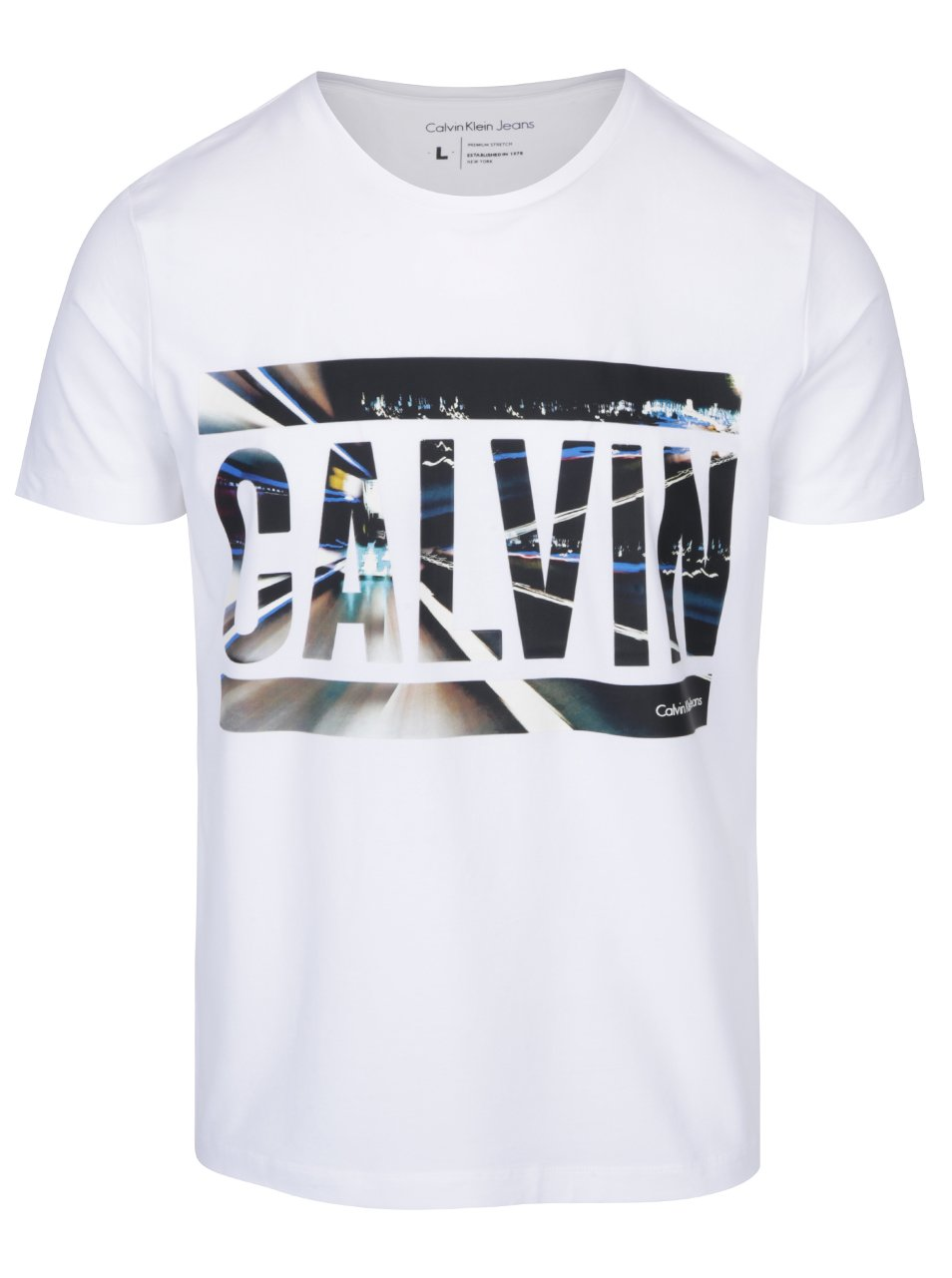 Bílé pánské tričko s barevným potiskem Calvin Klein Jeans Tonus