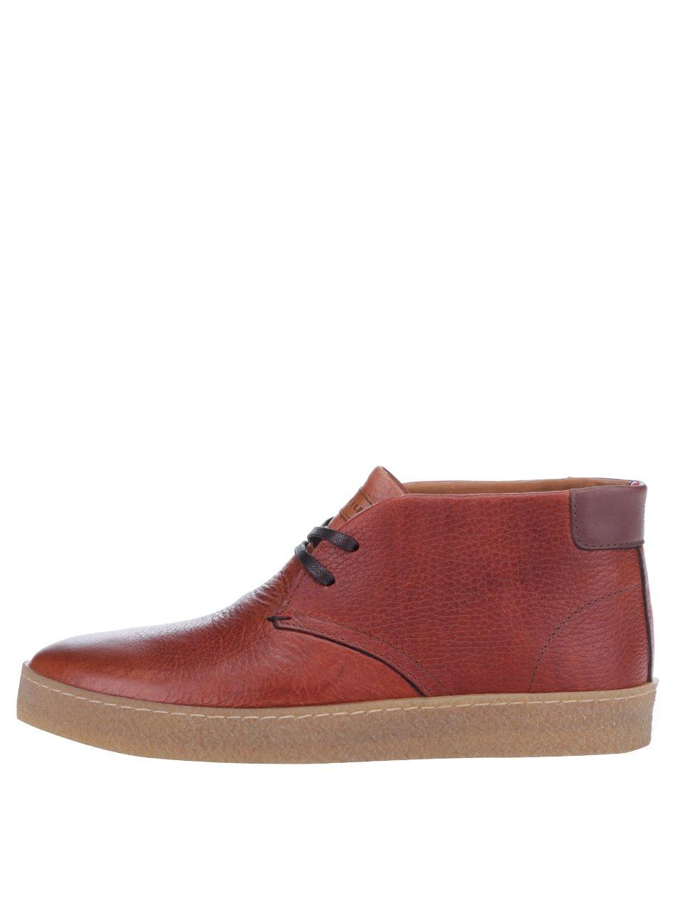 Hnědé pánské kožené kotníkové boty Tommy Hilfiger Logan