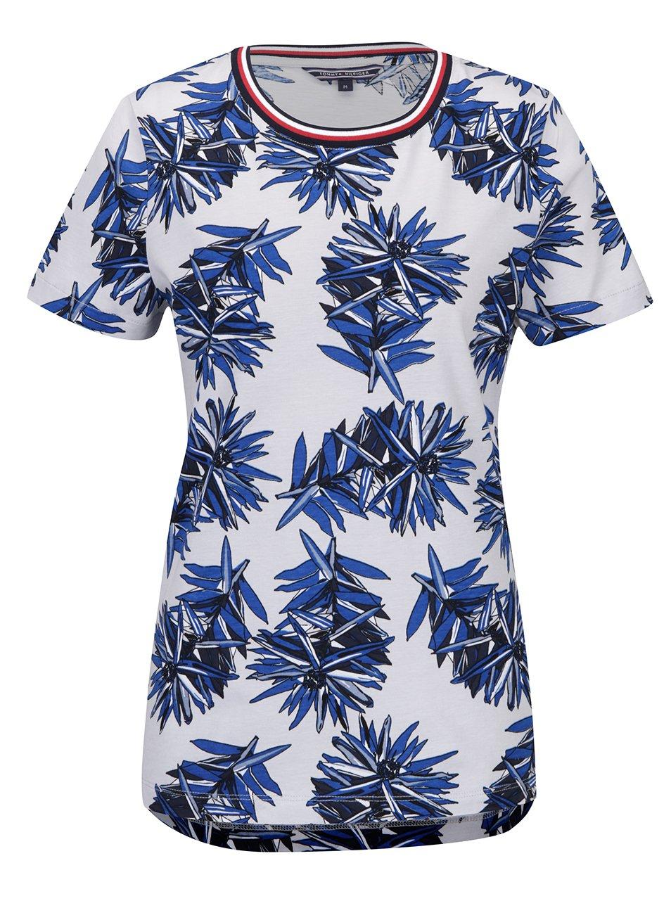 Modro-šedé dámské květované tričko Tommy Hilfiger Canny