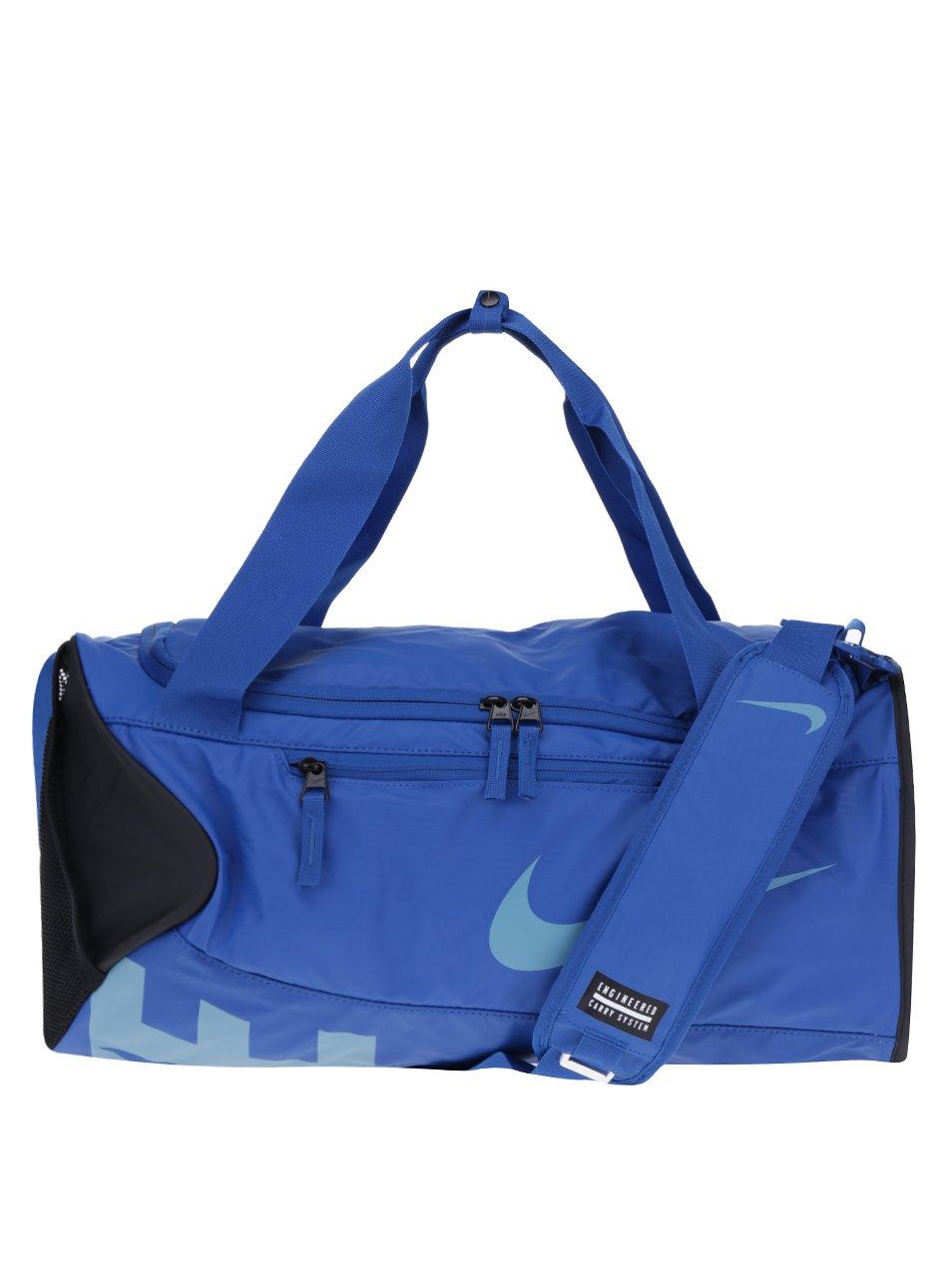 Černo-modrá sportovní voděodolná taška s potiskem Nike Alpha 37 l