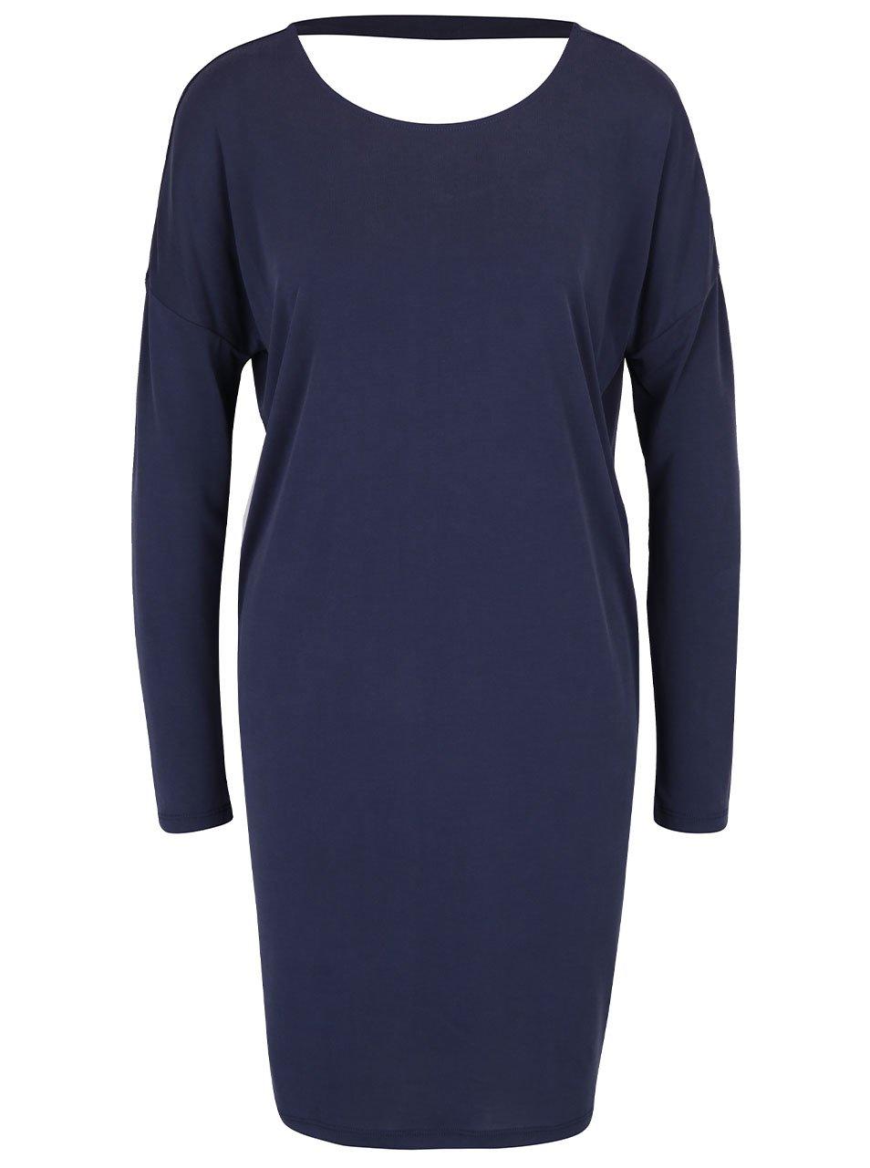 Tmavě modré volné šaty s páskem na zádech ONLY Mary