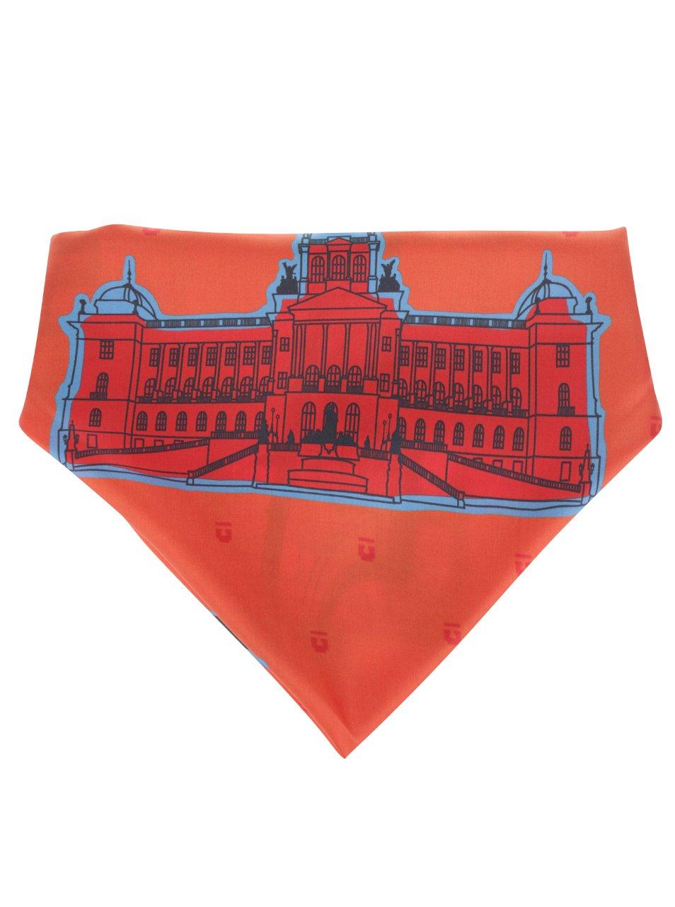 Oranžový hedvábný šátek s motivy pražských památek Emblemm