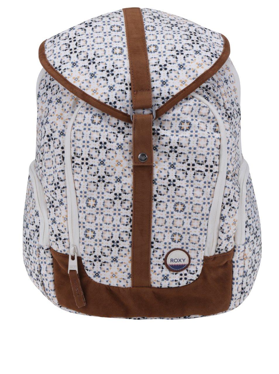Hnedo-krémový vzorovaný batoh s chlopňou Roxy Ready to Win