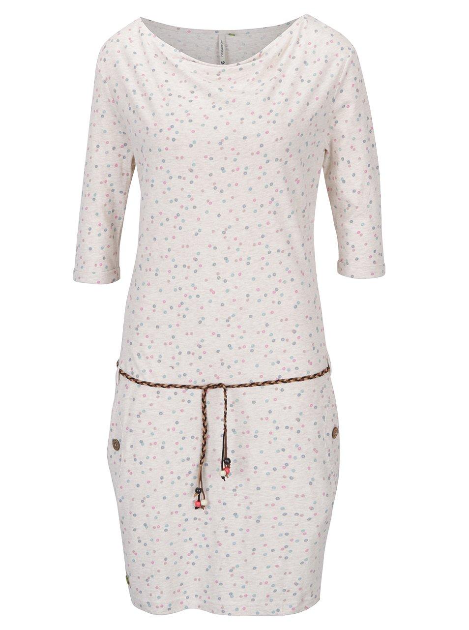 Béžové puntíkované šaty s 3/4 rukávem Ragwear Tanya Organic