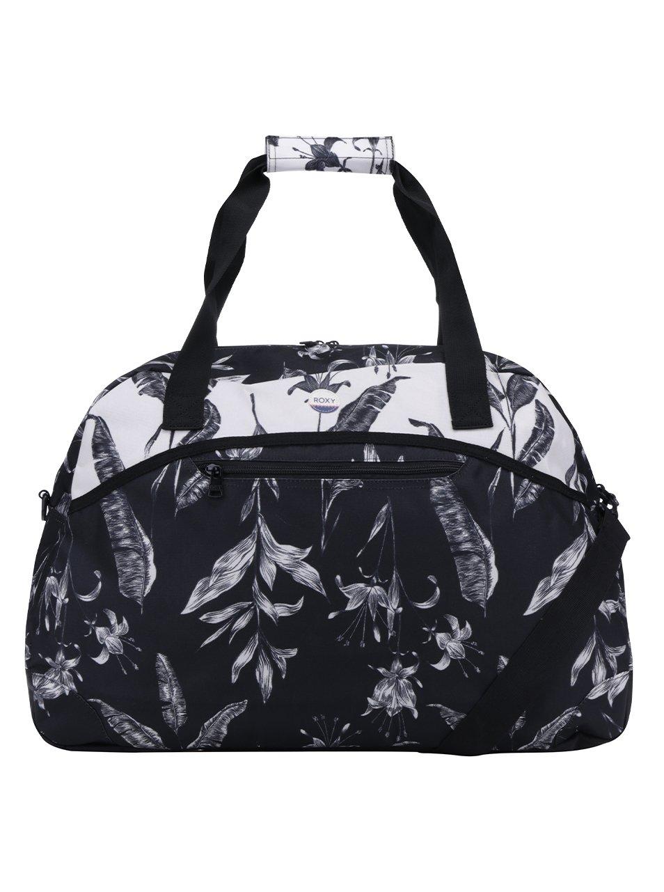Bílo-černá květovaná cestovní taška Roxy Too Far