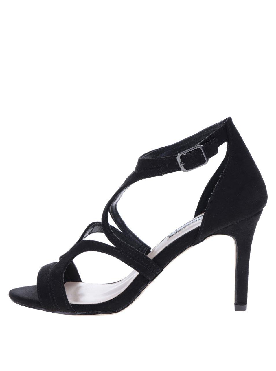 Černé páskové sandálky v semišové úpravě Dorothy Perkins