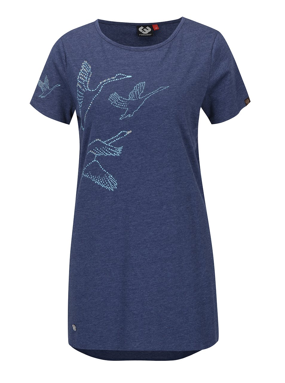 Modré dámské žíhané dlouhé tričko s potiskem Ragwear Martina
