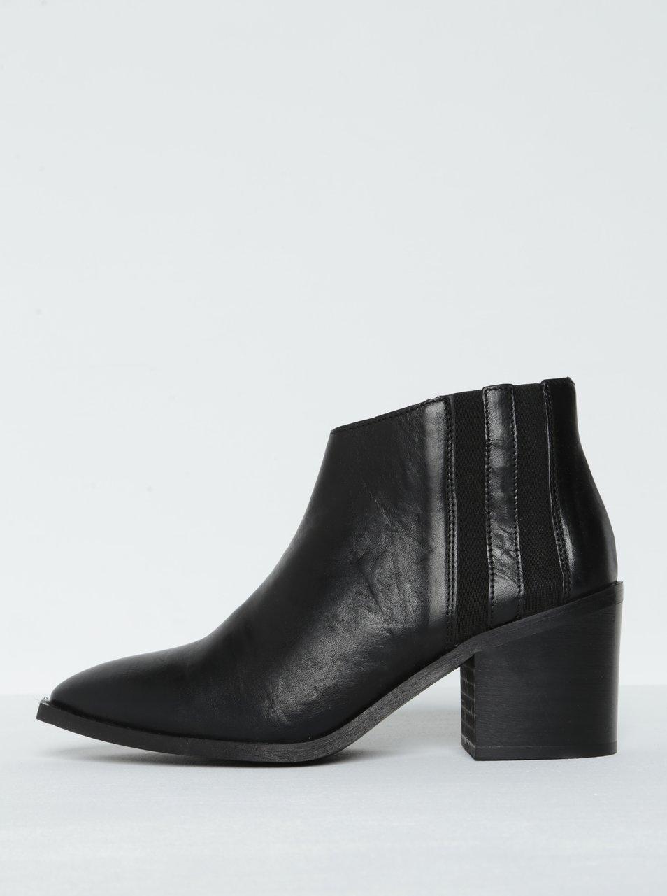 Černé kožené kotníkové boty na podpatku Selected Femme Elena  c8371032cd