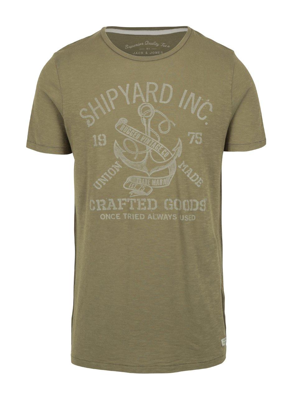 Zelené tričko s potiskem Jack   Jones Haden  84c5542465