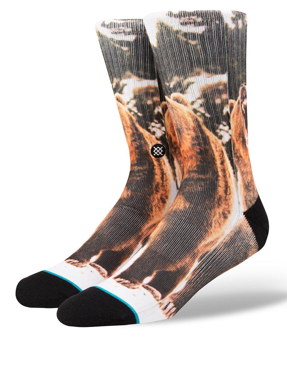 Černé pánské ponožky s potiskem medvěda Stance Leos