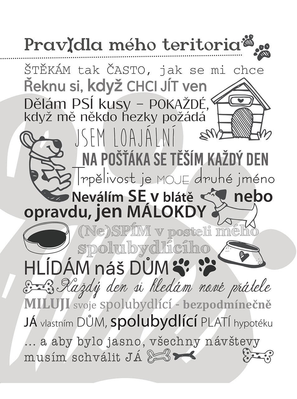 Bílý plakát HEZKÝ SVĚT Pravidla teritoria