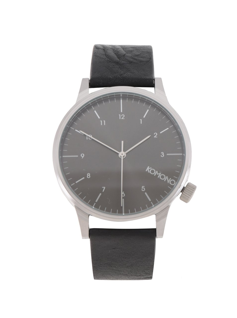 Unisex hodinky v striebornej farbe s čiernym koženým remienkom Komono Winston Regal