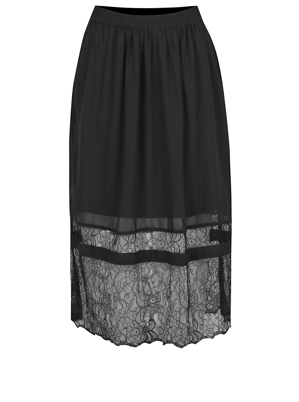 Černá midi sukně s krajkovými detaily VILA Dede