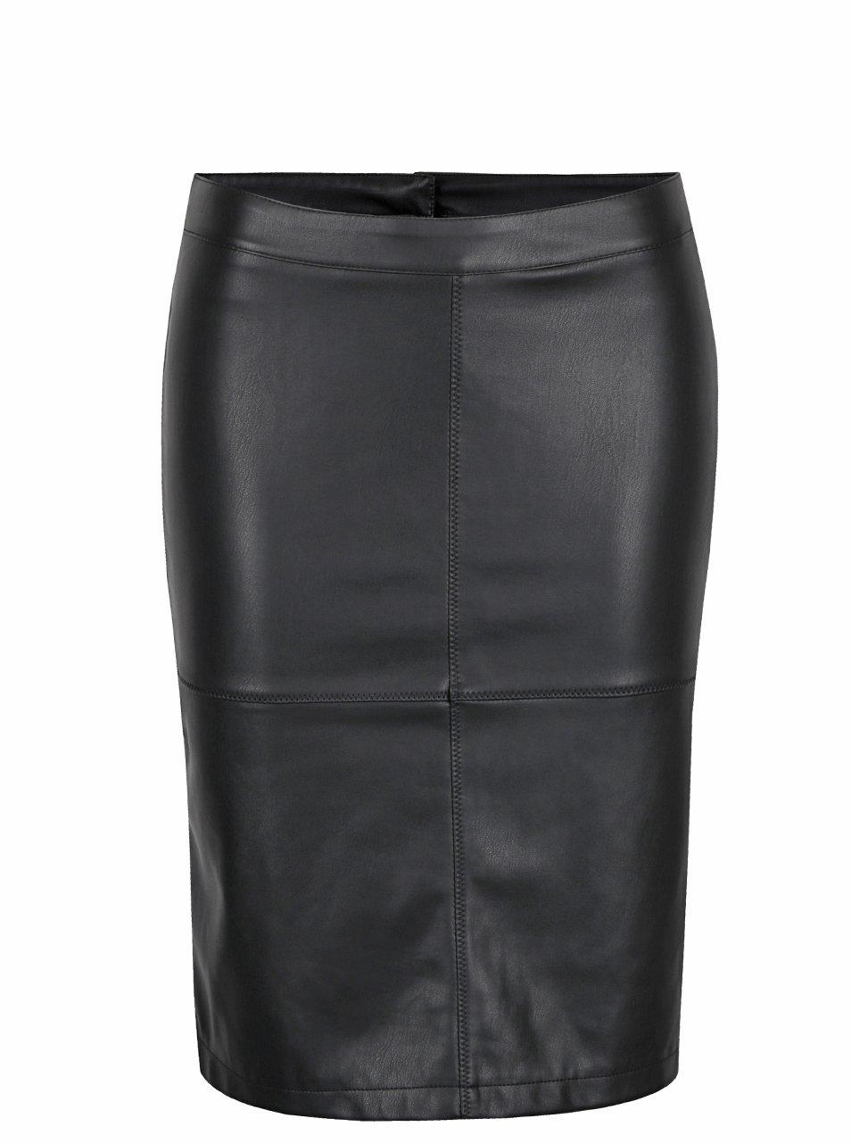 Čierna koženková puzdrová sukňa s rozparkom VILA Pen New